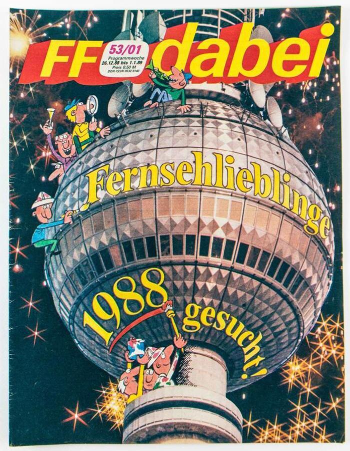 Programmzeitschrift »FF dabei« mit einer Großaufnahme des Berliner Fernsehturms, Ausgabe 88/89