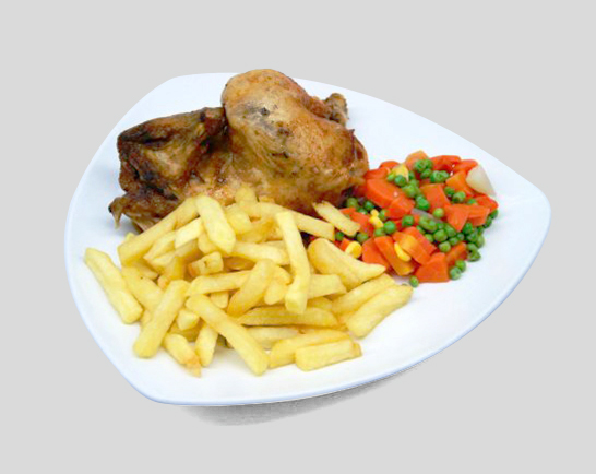 Grilled broiler (roasted chicken) with french fries and vegetables
