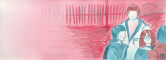 Illustration mit pink-farbigem Hintergrund und einer Gruppe Menschen