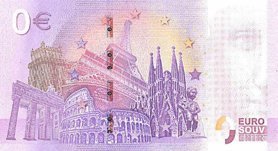 zero euro banknote of the DDR Museum showing the back of the 6th edition