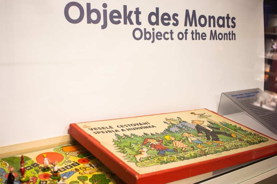 The board game »Merry Travels — Spejbl and Hurvinek« displayed within the exhibition
