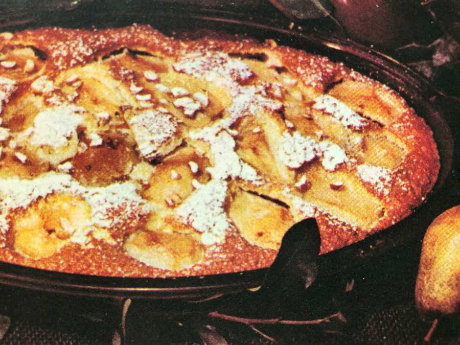 Pear Casserole dusted with icing sugar