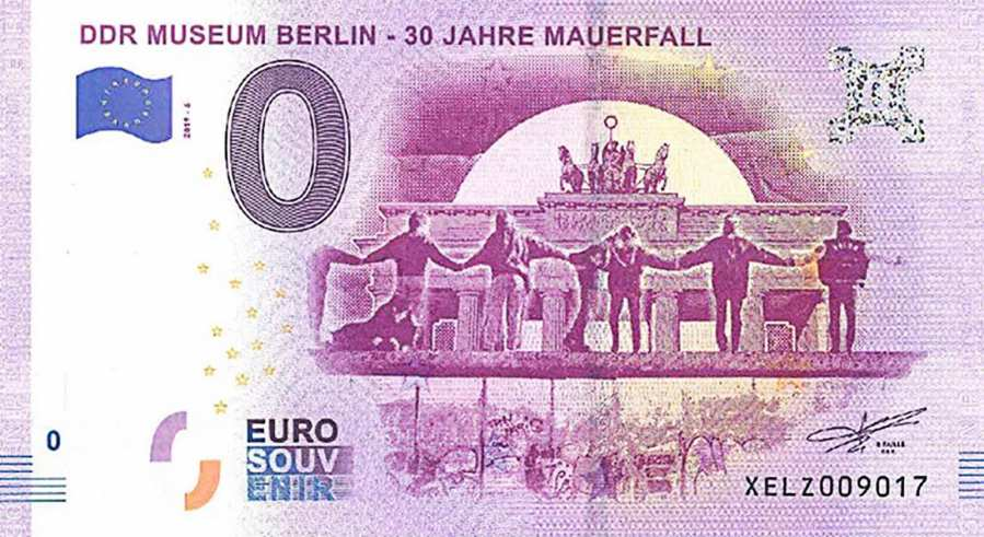zero euro banknote of the DDR Museum showing the front of the 6th edition