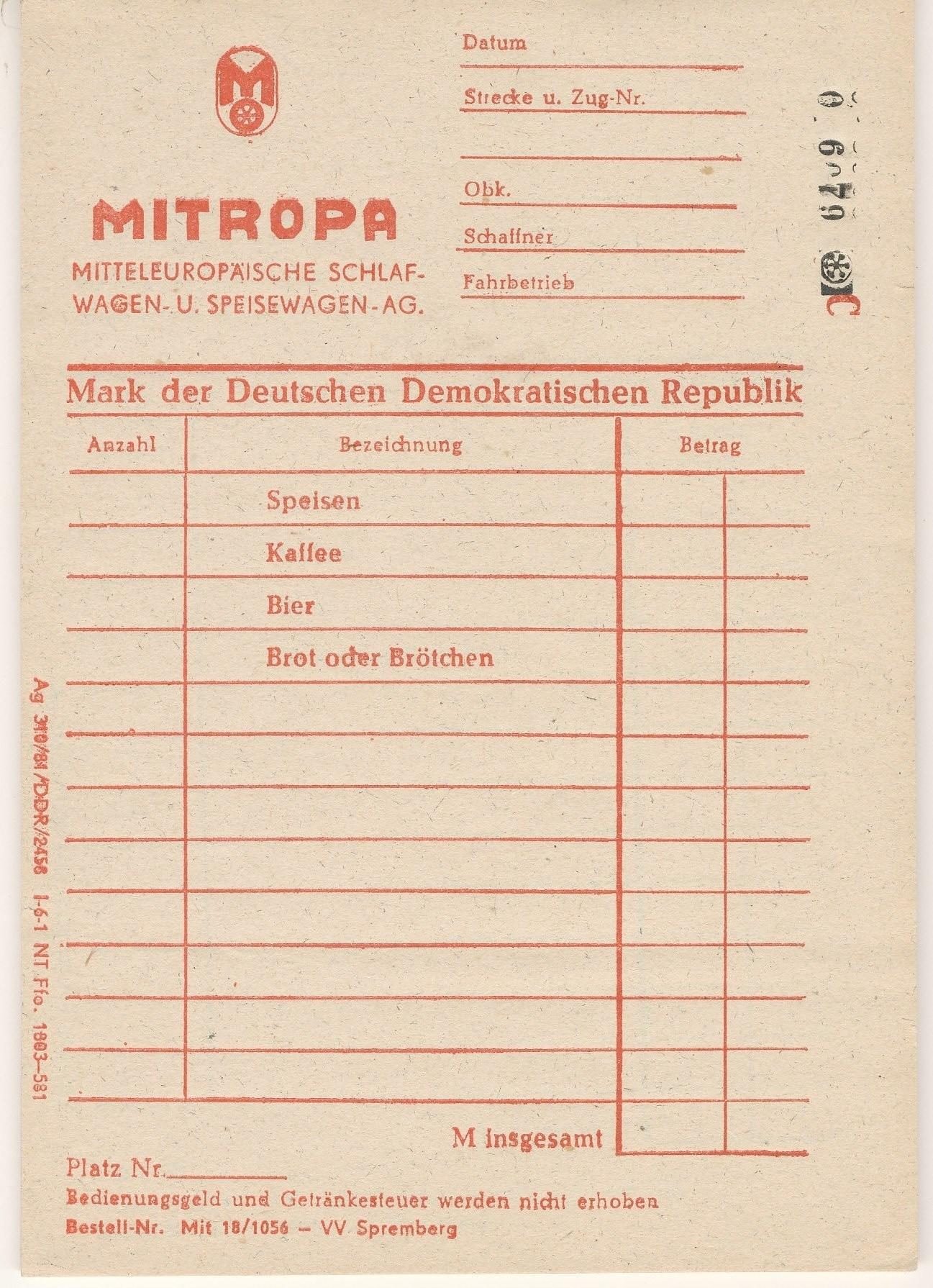 Rechnungsblöcke Mitropa Ddr Museum Berlin