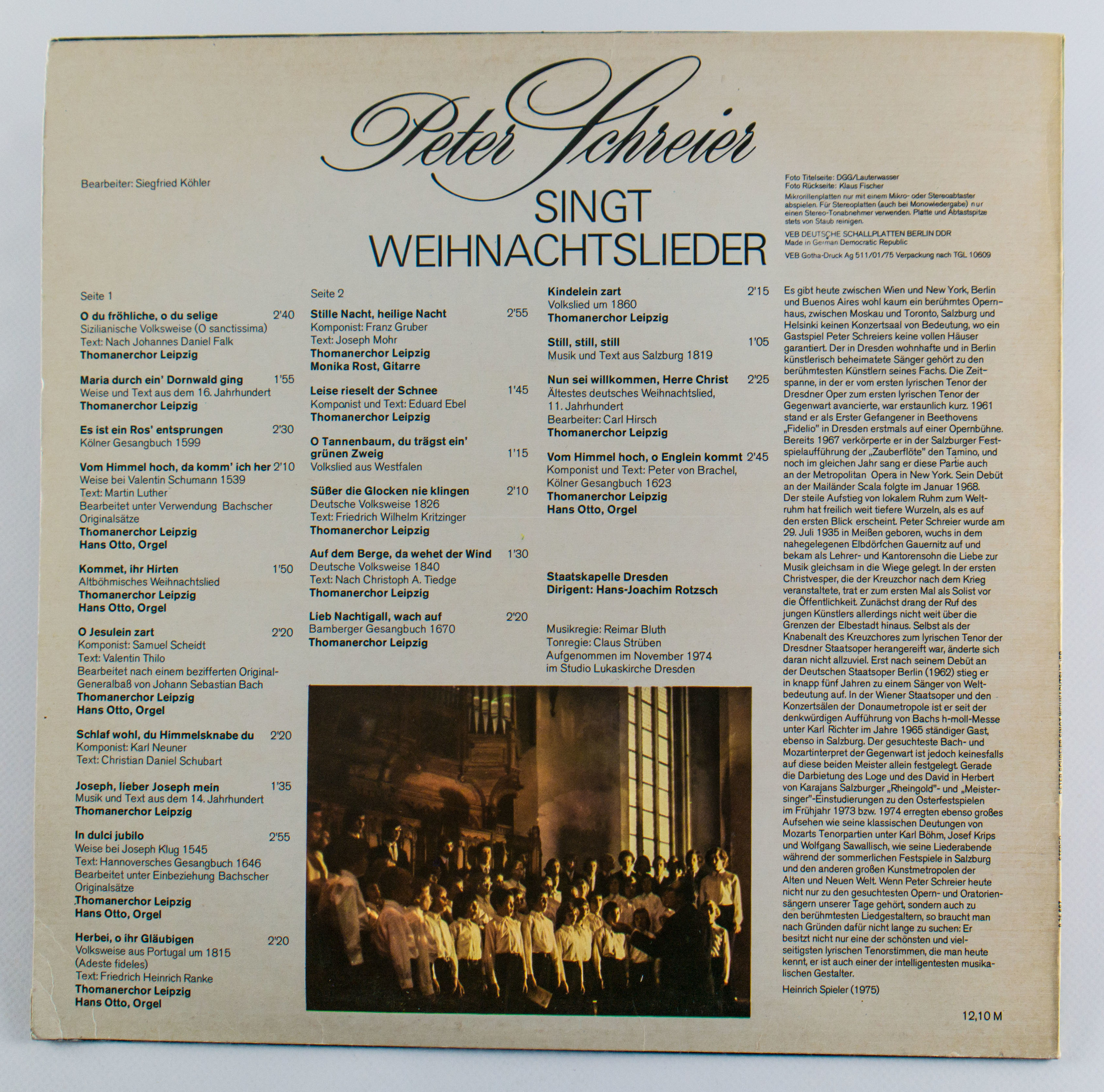 Ddr Weihnachtslieder Texte.Schallplatte Peter Schreier Singt Weihnachtslieder Ddr Museum Berlin